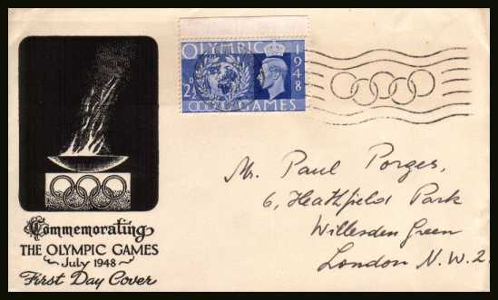 view larger back view image for Olympic Games - The 2�d Urtramaine on a single value illustrated hand addressed cover cancelled with the OLYMPIC GAMES - WEMBLEY - GT. BRIT. ''slogan'' cancel showing the Olympic rings dated 29 July 1948
