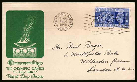 view larger back view image for Olympic Games - The 2�d Urtramaine on a single value Green illustrated hand addressed cover cancelled with the OLYMPIC GAMES - WEMBLEY - GT. BRIT. ''slogan'' cancel showing the Olympic rings dated 29 July 1948