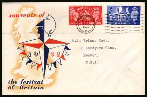 view larger back view image for Festival of Britain set of two on the official FESTIVAL OF BRITAIN colour envelope with a neatly typed address cancelled with a LONDON E.C. ''wavy line'' cancel for 3 MAY 1951.