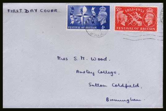 view larger back view image for Festival of Britain set of two on a plain hand addressed envelope cancelled with a SUTTON COLDFIELD ''wavy line'' cancel dated 3 MAY 1951