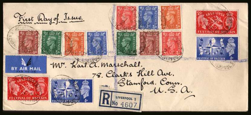 view larger back view image for Festival of Britain set of two combo cover plus the five definitives issued on a registered business envelope cancelled EXCHANGE - LIVERPOOL to STAMFORD - CONN - USA