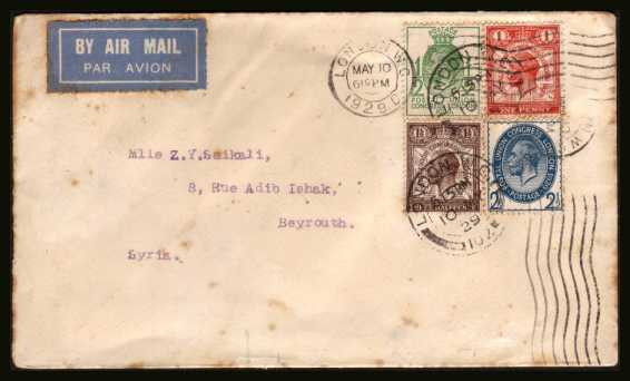 view larger back view image for PUC set of four on a small cover with benefit of clearly cancelled with a LONDON W.C. 'wavy line'  AND double ring CDS dated MAY 10 1929 to BEIROUT (with local backstamp) Has some foxing that looks worse on scan than in real life! Priced on condition.