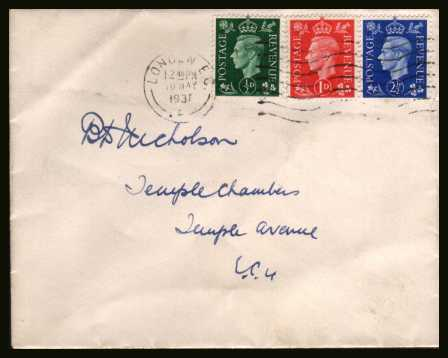 view larger back view image for The �d, 1d and 2�d ''Dark Colours'' set of three on a plain hand addressed envelope cancelled with a LONDON E.C.