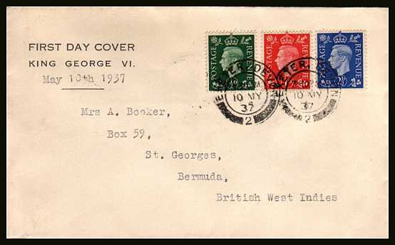 view larger back view image for The �d, 1d and 2�d ''Dark Colours'' set of three on a text printed cachet envelope with typed address to BERMUDA (with backstamp) cancelled with a two EXETER - DEVON double ring steel CDSs