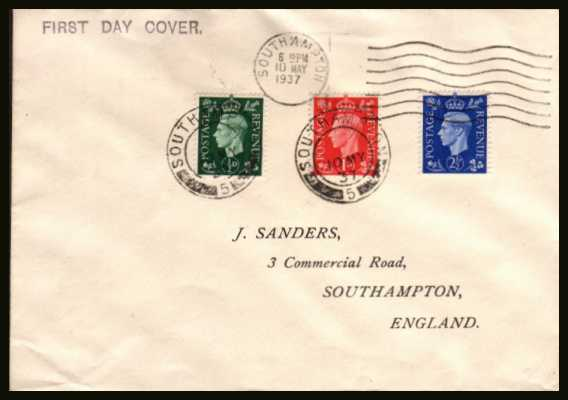view larger back view image for The �d, 1d and 2�d ''Dark Colours'' set of three on a ''J. SANDERS'' printed address envelope cancelled with a part SOUTHAMPTON ''wavy line'' and two steel CDSs  dated 10 MAY 1937.