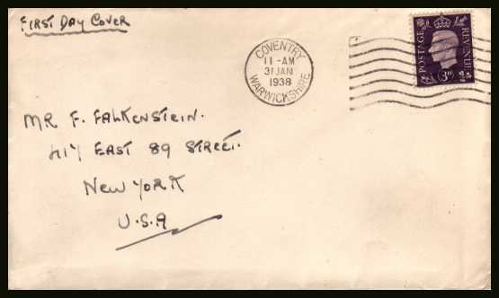 view larger back view image for 3d Violet on a small hand addressed envelope cancelled with a COVENTRY WARWICKSHIRE ''wavy line'' cancel dated 31 JAN 1938 to NEW YORK