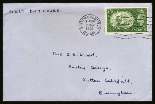 view larger back view image for 2/6d Green on a neatly hand addressed envelope cancelled with a SUTTON COLDFIELD ''wavy line'' dated 3 MAY 1951.