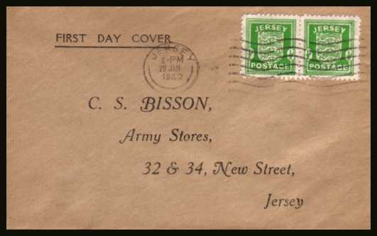 view larger back view image for JERSEY - �d Green. Pair on an printed cachet and address cover cancelled with a JERSEY ''wavy line'' cancel dated 29 JAN 42