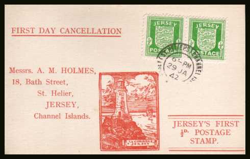 view larger back view image for JERSEY - �d Green. Pair on an illustrated postcard cancelled with a double ring steel CDS for JERSEY - CHANNEL ISLANDS dated 29 JAN 42.