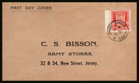 view larger back view image for JERSEY - 1d Scarlet on a printed cachet and address  cover cancelled with a small steel CDS for JERSEY - CHANNEL ISLANDS dated 1 AP 41.