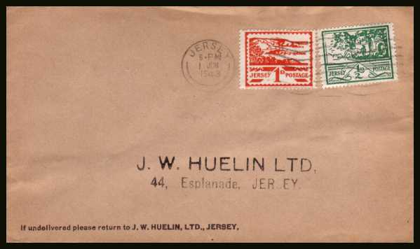 view larger back view image for JERSEY - Jersey Views �d and 1d on printed address envelope cancelled with a JERSEY ''wavy line'' cancel dated 1 JUN 1943