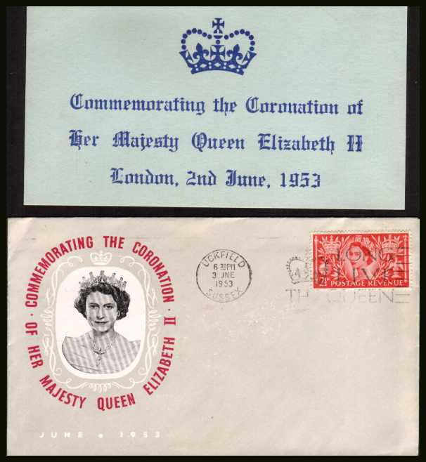view larger back view image for Coronation 2�d Carmine-Red single on an unaddressed illustated FDC (together with nice insert card) cancelled with a UCKFIELD - SUSSEX
