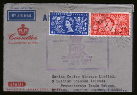view larger back view image for Coronation two low values on an unopened AIRMAIL lettersheet cancelled with part of the