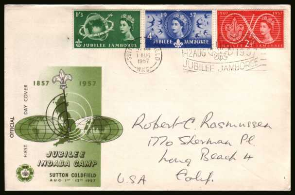 view larger back view image for World Scout Jubilee Jamboree set of three on a hand addressed illustrated FDC cancelled with the SUTTON COLDFIELD