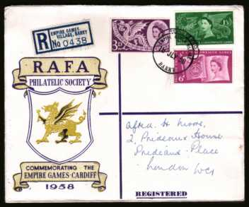 view larger back view image for Commonwealth Games set of three on the very rare RAFA illustrated REGISTERED FDC cancelled with a crisp EMPIRE GAMES VILLAGE - BARRY - REGISTERED 'hooded circle''. On back is another strike plus the official games slogan. A rare cover!