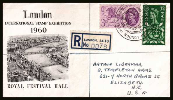 view larger back view image for General Letter Office set of two on an illustrated REGISTERED cover cancelled with the fancy stamp exhibition cancel dated 9 JY to NEW JERSEY USA. Note this is not a FDC but is never the less a scarce cover! Very pretty!