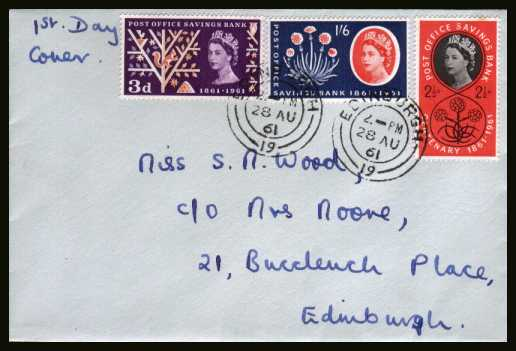 view larger back view image for Post Office Savings Bank set of three on a hand addressed plain FDC cancelled with two strikes of an EDINGURGH