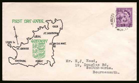 view larger back view image for GUERNSEY - 3d Deep Lilac on a typed addressed colour printed illustrated envelope cancelled with a double ring CDS for GUERNSEY - ST. PETER PORT CH. IS. dated 18 AU 58.