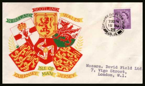 view larger back view image for GUERNSEY - 3d Deep Lilac on a neatly typed address colour printed illustrated envelope cancelled with a double ring CDS for GUERNSEY - ST. PETER PORT CH. IS. dated 18 AU 58.