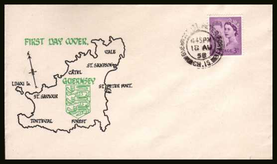 view larger back view image for GUERNSEY - 3d Deep Lilac on a colour printed UNADDRESSED illustrated envelope cancelled with a double ring CDS for GUERNSEY - ST. PETER PORT CH. IS. dated 18 AU 58.