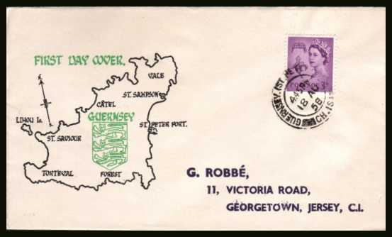 view larger back view image for GUERNSEY - 3d Deep Lilac on a colour printed illustrated envelope with printed address cancelled with a double ring CDS for GUERNSEY - ST. PETER PORT CH. IS. dated 18 AU 58.