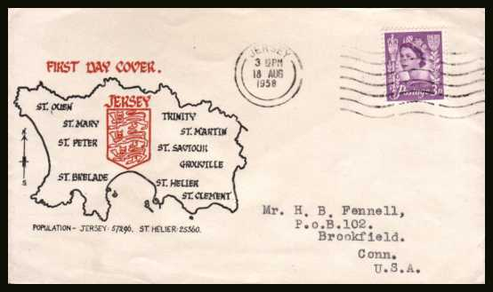 view larger back view image for JERSEY - 3d Deep Lilac on a typed addressed colour illustrated FDC cancelled with a steel CDS for JERSEY CHANNEL ISLANDS dated 18 AU 58.