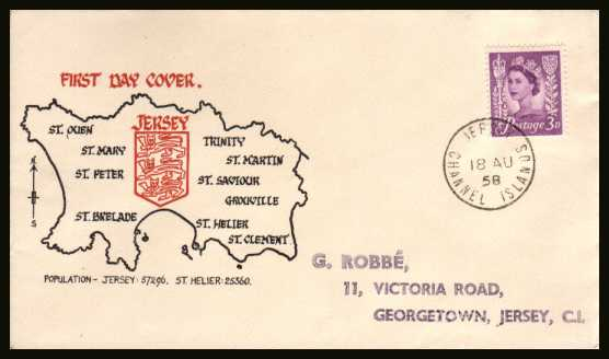 view larger back view image for JERSEY - 3d Deep Lilac on a handstamp addressed colour illustrated FDC cancelled with a steel CDS for JERSEY CHANNEL ISLANDS dated 18 AU 58.