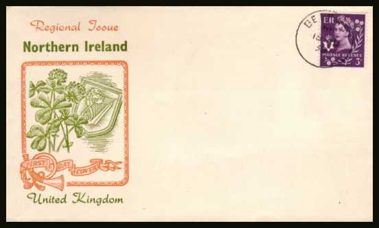 view larger back view image for NORTHERN IRELAND - 3d Deep Lilac on an UNADDRESSED colour illustrated FDC cancelled with a steel  CDS for BELFAST dated 18 AU 58.