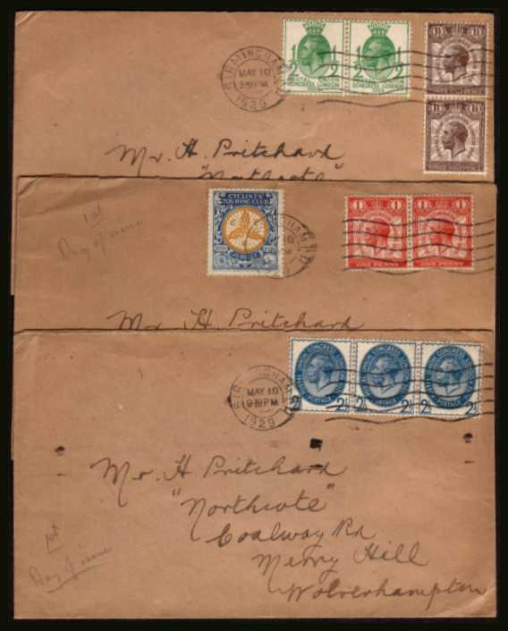 view larger back view image for The PUC set of four low values of a matched set of three hand addressed buff coloured FDCs to the same person all cancelled with a BIRMINGHAM 'wavy line'' dated MAY 10 1929. Note, the envelopes are brown but not the stamps!