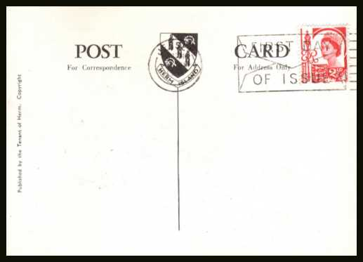 view larger back view image for JERSEY -  2�d Rose-Red on an illustrated FDC postcard with neatly typed address cancelled with a JERSEY - FIRST DAY OF ISSUE slogan dated 8 JNE 1964
