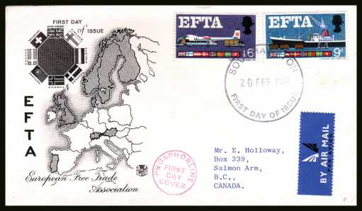 view larger back view image for EFTA (European Free Trade Association) <b>PHOSPHOR</b> on a typed address STUART FDC cancelled with a large FDI