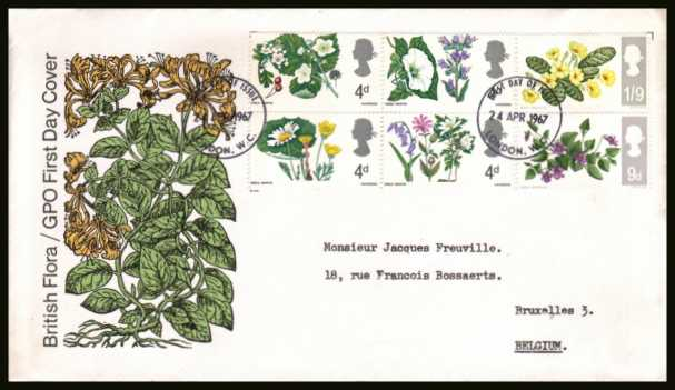 view larger back view image for British Wild Flowers <b>PHOSPHOR</b> set of six on neatly typed official Post Office FDC cancelled with a small LONDON W.C.  FDI  cancel dated 24 APRIL 1967.