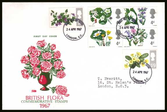 view larger back view image for British Wild Flowers <b>PHOSPHOR</b> set of six on neatly typed PHILART colour  FDC cancelled with three small LONDON E.C. FDI  cancel dated 24 APRIL 1967.