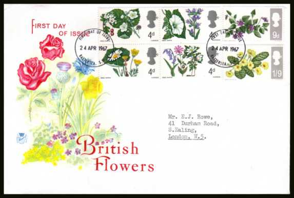 view larger back view image for British Wild Flowers <b>PHOSPHOR</b> set of six on neatly typed STUART colour FDC cancelled with a small BATTERSEA - S.W.11  FDI  cancel dated 24 APRIL 1967.