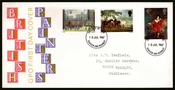 view larger back view image for British Paintings set of three on a neatly typed addredded illustrated official GPO colour FDC cancelled with two HARROW AND WEMBLEY FDI handstamps dated 10 JUL 1967