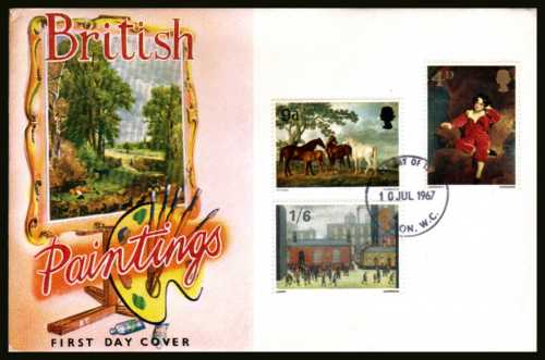 view larger back view image for British Paintings set of three on  an unaddressed illustrated CONNOISSEUR colour FDC cancelled with LONDON W.C. FDI dated 10 JUL 1967.