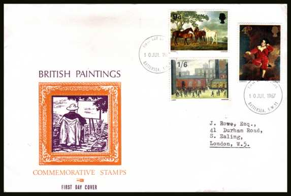 view larger back view image for British Paintings set of three on illustrated OVERSIZE (very scarce version) PHILART colour FDC cancelled with two BATTERSEA S.W.11  FDI handstamps dated 10 JUL 1967.