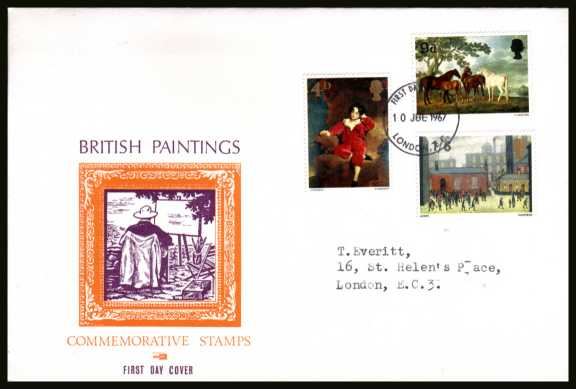 view larger back view image for British Paintings set of three on illustrated OVERSIZE (very scarce version) PHILART colour FDC cancelled with a LONDON E.C. FDI handstamp dated 10 JUL 1967.