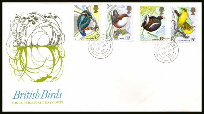 view larger back view image for British Birds set of four on official unaddressed Royal Mail FDC cancelled with a HOUSE OF LORDS double ring CDS dated 16 JA 80.