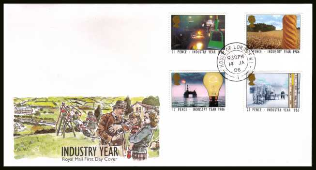 view larger back view image for Industry Year set of four on official unaddressed Royal Mail FDC cancelled with a HOUSE OF LORDS double ring CDS dated 14 JA 86. 