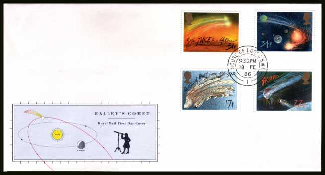 view larger back view image for Halley's Comet set of four on official unaddressed Royal Mail FDC cancelled with a HOUSE OF LORDS double ring CDS dated 18 FE 86. 