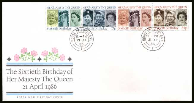 view larger back view image for 60th Birthday of The Queen set of four on official unaddressed Royal Mail FDC cancelled with a HOUSE OF LORDS double ring CDS dated 21 AP 86. 