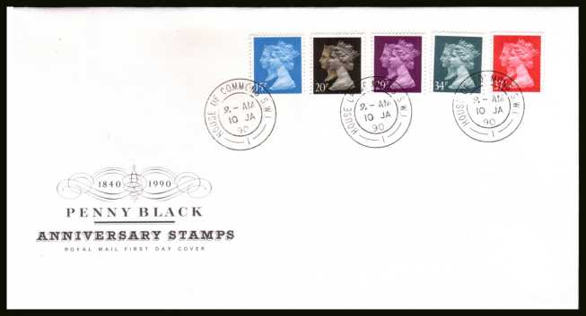 view larger back view image for Penny Black set of five on official unaddressed Royal Mail FDC cancelled with a HOUSE OF COMMONS double ring CDS dated 10 JA 90. 