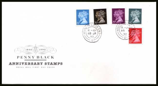 view larger back view image for Penny Black set of five on official unaddressed Royal Mail FDC cancelled with a HOUSE OF LORDS double ring CDS dated 10 JA 90. 