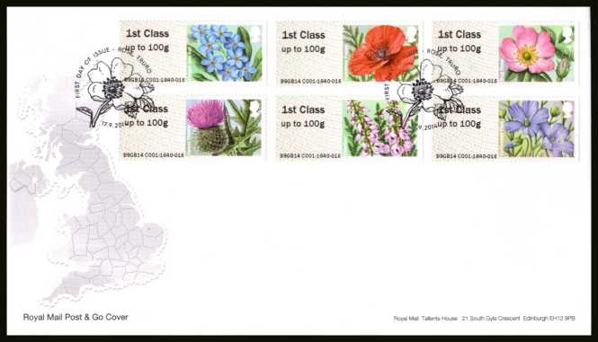 view larger back view image for ROYAL MAIL 'POST & GO' - BRITISH FLORA - Symbolic Flowers - 2nd Series set of six on an unaddressed official Royal Mail FDC cancelled with the official alternative FDI cancel for ROSE - TRURO dated 17-9-2014.