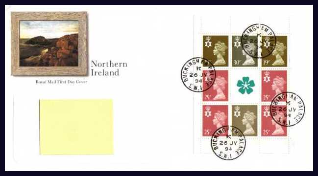 view larger back view image for NORTHERN IRELAND - multivalue booklet pane on an addressed Royal Mail FDC cancelled with four steel CDS's reading BUCKINGHAM PALACE 26 JY 94.  Addressee's name covered on scan. Scarce and attractive.