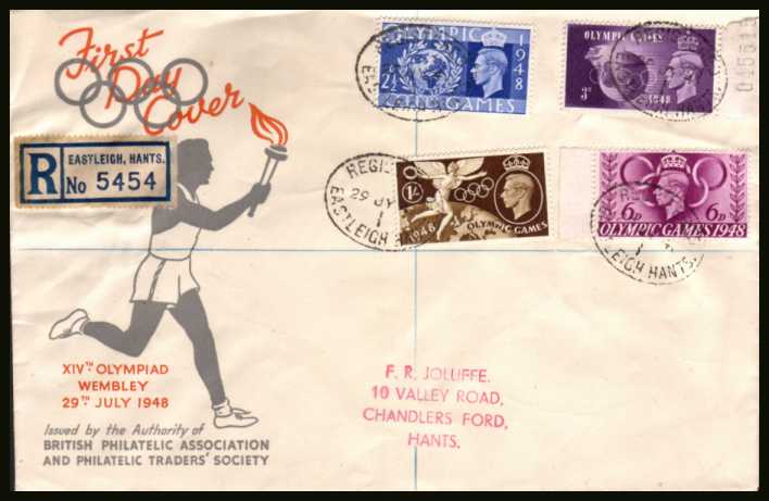 view larger back view image for Olympic Games set of four on a registered BPA colour illustrated FDC cancelled with four strikes of an oval REGISTERED cancel for EASTLEIGH - HANTS dated 29 JY 48. 
