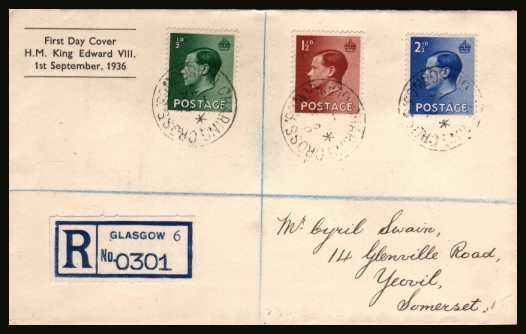 view larger back view image for King Edward 8th - �d, 1�d and 2�d values on a neatly  addressed registered FDC with printed cachet cancelled with three strikes (and two on the back) of the CHARING CROSS - GLASGOW steel CDS dated 1 SP 36. 