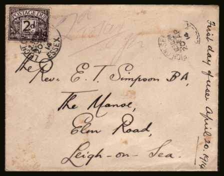 view larger back view image for 2d Agate POSTAGE DUE single on a small complete envelope cancelled with a bold LEIGH ON SEA - ESSEX dated 20 AP 14. The cover is endorsed ''FIRST DAY OF ISSUE''. A very rare cover.