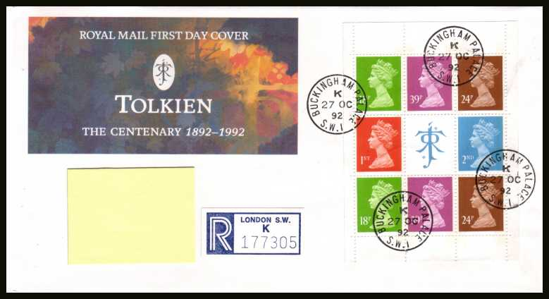 view larger back view image for Tolkien Machin booklet pane on an addressed Royal Mail FDC cancelled with four steel Royal Household CDS's reading BUCKINGHAM PALACE dated 27 OC 92.
